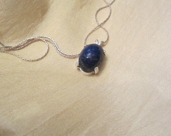 Afganiston Lapis Oval Cabochon Pendant with  Silver chain.