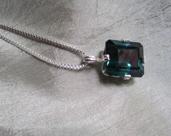Spruce Green Emerald Amethyst Pendant