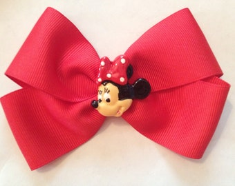 4 inch Minnie Mouse red hair bow