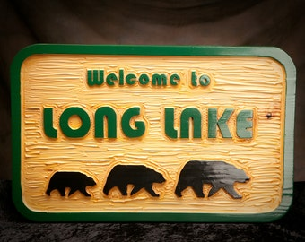 "Personalized custom carved sign, custom carved lake sign,  Carved Adirondack sign, 1 1/2"" x 19"" x 30""."
