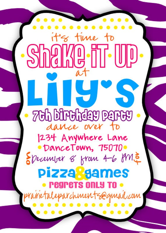 items similar to shake it up dance party invitation on etsy