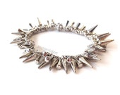 Silver Spike and Pave Rhinestone Cluster Bracelet