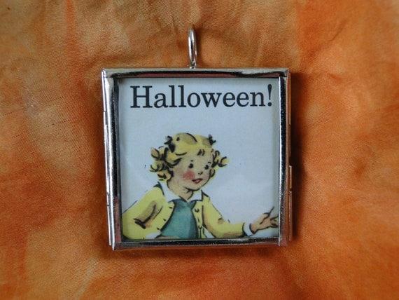 Halloween Pendant Jack o' Lantern Pumpkin Vintage Childhood