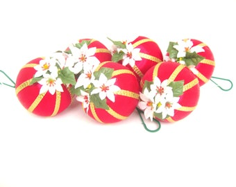 Vintage Satin Wrapped Christmas Ornaments Red with White and Gold Accents