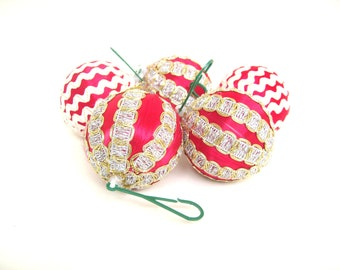 Vintage Satin Wrapped Christmas Ornaments Red and White Striped