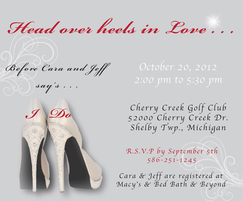 High heel theme bridal shower head over heels theme bridal shower invitation filmwisefo