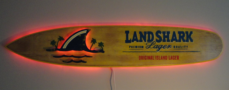 6ft Illuminated Landshark Surfboard Wall Art By