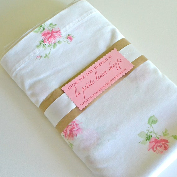 Vintage Queen Sheet Pink Floral Flat on Kaitlyn Sheets