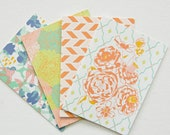 set of 4 - 5x7 patterned cards