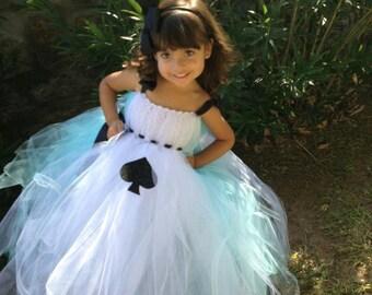 Alice in Wonderland tutu dress with matching hairpiece
