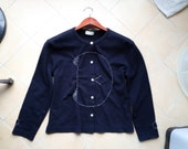 Navy Blue Doodle Kitty Hand-Embroidery Long Sleeves Blouse (M-L)