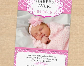 Pink quatrefoil pattern Baby Girl Announcement