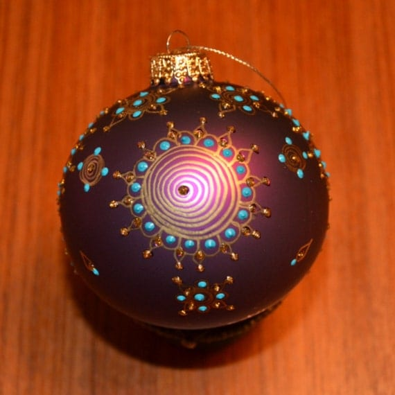 Hand Painted Ornament-Spiral and Dots