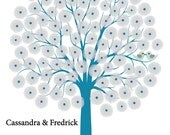 Flower Wedding Tree Guest Book Personalized Art Print- Spring Love Birds -100 Guest- 16x20