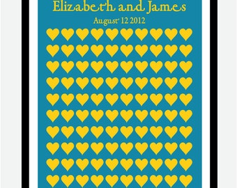 Wedding Guest Book Alternative -Yellow Hearts- Personalized Print- 100 Signature Heart - 16x20
