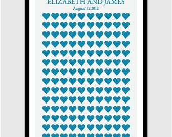 Modern Wedding Guest Book -Blue True Hearts- Personalized Print- 140 Signature Hearts - 20x30