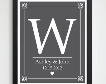Custom Anniversary Gift / Wedding Present // Bridal Shower Gift// Personalized Wedding Gift // Custom Monogram Art Print // 8x10