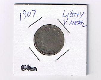 1907 Vintage USA Liberty Head V Nickel