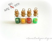 SALE 4 tiny fruit vial pendant charms