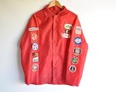Vintage Jacket - Race Fan Vintage Red Raincoat - Waterproof Jacket - Race Patch - Laguna Seca