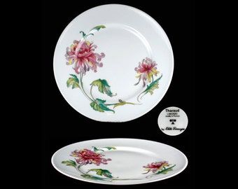 Vintage Elite-Limoges Pink and Purple Dahlia Dinner Plate