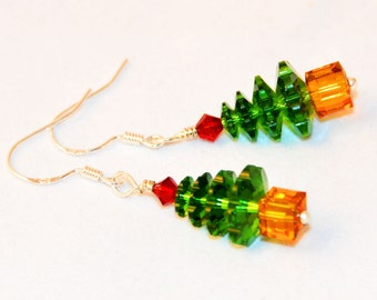 Swarovski Christmas Tree Earrings, Drop Earring, Swarovski Crystal, Christmas Tree Earrings