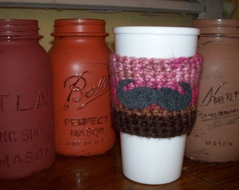Hand Crocheted & Felt MUSTACHE Coffee COZY Pink Brown and Gray