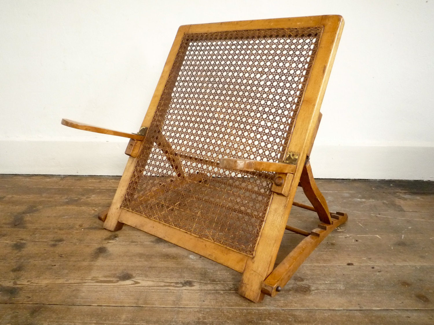 Antique Beach Chair Edwardian Victorian Cane Back Rest