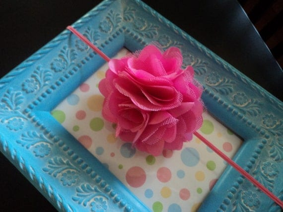 PINK pom FLOWER HEADBAND