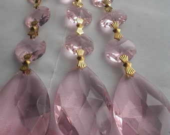 3 Pink Triple Bead Chandelier Crystal Ornaments Crystal Prisms Chandelier Crystal Teardrops Shabby Cottage Chic