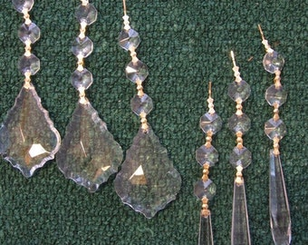 6 Asfour Full Lead Chandelier Crystals Icicle French Triple Bead Ornaments Shabby Chic Prisms