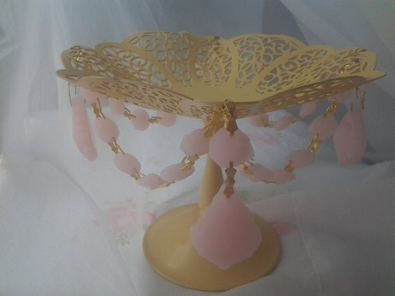 SALE 30% OFF Shabby Chic Candy Dish Filigree Bowl Yellow w Opaque Pink Chandelier Crystal Prisms Cottage Style