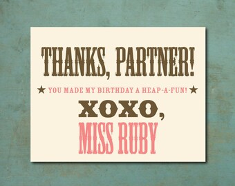 PRINTABLE Cowgirl Birthday Party Thank You Cards