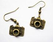 Earrings---antique DIY bronze little camera earrings