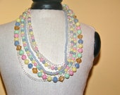 Vintage Multiple Pastel Color Strand Necklace