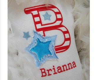 Shaby Star Monogram and Applique shirt - free personalization - Back to School