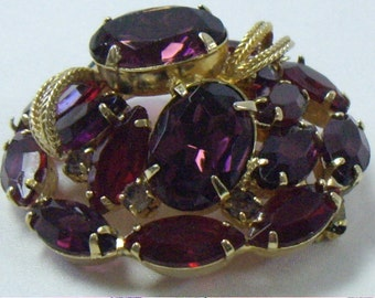 Vintage Juliana Inspired Red and Purple Rhinestone Domed Brooch Pin