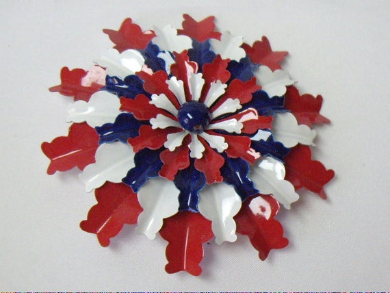 Vintage Red White & Blue Flower Power Enameled Brooch Pin