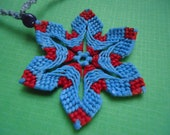 Turquiose and Red Macrame Flower Necklace