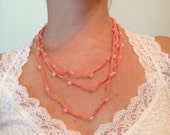 Pink and Iridescent Bead Crochet Necklace