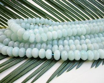 """Natural Amazonite Faceted Rondelle Gemstone Beads - 5x8mm - Full Strand - 16"""""""