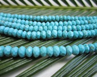 "Turquoise Magnesite Faceted Rondelles Gemstone Beads - 3x5mm - Full Strand - 16"""