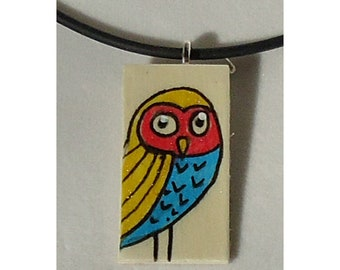 Hand painted Owl pendant, art, primary colors, one of a kind, boho, multi colored artwork, blonde wood, red pink yellow cyan blue