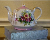 SALE-- Royal Crown Vintage Teapot- White and Pink with Gold Leafing and Beautiful Flowers