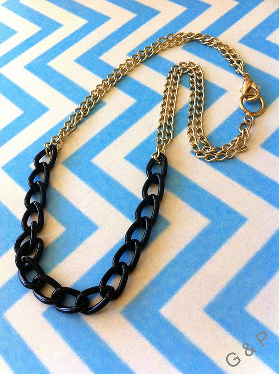 Black Link & Gold Chain Necklace