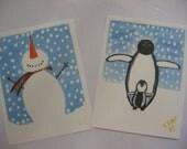 6 Christmas card, 3 Snow Man, 3 happy Feet (4x6)