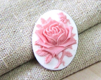 6  pcs of resin rose cameo --18x25mm-0161-9-hot pink on white