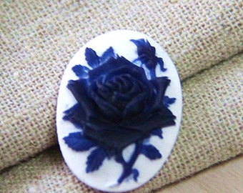 6  pcs of resin rose cameo-18x25mm- -0161-2-cobalt on white