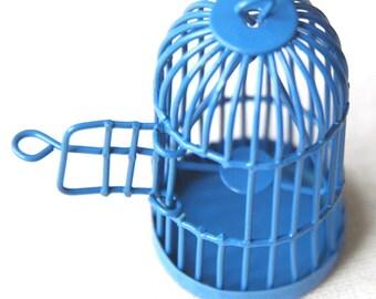 6 pcs Of metal bird cage pendant 28x28x35mm-MP1009-dark blue