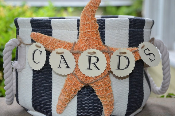 Nautical Wedding Gift Card Holder : Nautical wedding card holder with banner sign, card box, beach theme